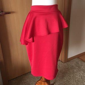 BOOHOO+ Red Pencil Skirt w/Angle Ruffle